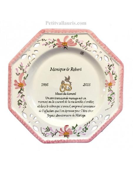 Assiette de Mariage octogonale décor fleurs roses avec poème noces de diamant