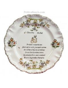 Assiette souvenir 50 ans de mariage Louis XV Poème Noces d'or