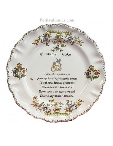 Assiette Souvenir 50 Ans De Mariage Modèle Louis Xv Poème Noces Dor Motif Fleurs Tradition Polychrome