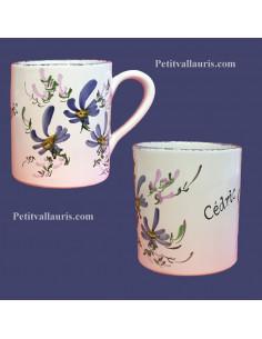 Chope - Mug décor décor fleurs bleues personnalisé prénom