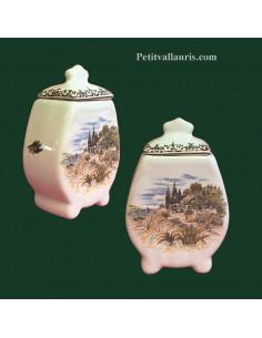 Pot de cheminée festonné décor paysage provençal taille 1