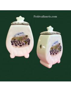 Pot de cheminée festonné décor motifs provençaux taille 3