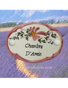 """Plaque de porte Ovale fleur rose """"Chambre d'amis"""""""