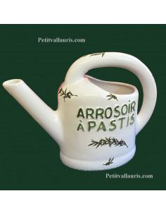 Pichet Arrosoir à pastis en céramique décor brin d'olivier