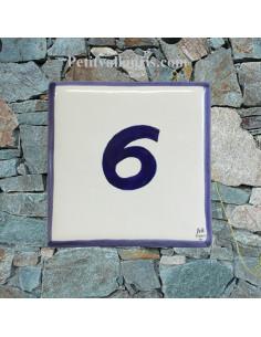 Numéro de maison en faience avec chiffre ou lettre + bord bleu pose horizontale