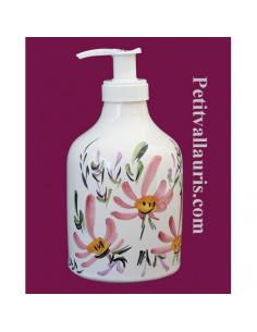 Distributeur de savon liquide décor Fleur rose