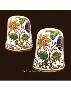 Dé à coudre en faïence décor Tradition Vieux Moustiers polychrome