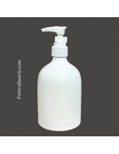 Distributeur de savon liquide émaillé blanc uni