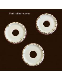 Rosace décorative en porcelaine blanche pour Bouton de tiroir avec frise assortie au boutons polychromes