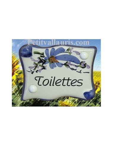 """Plaque de porte parchemin bleue """"Toilettes"""""""