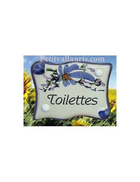 Plaque de porte en faience émaillée blanche modèle parchemin décor artisanal fleurs bleues inscription Toilettes