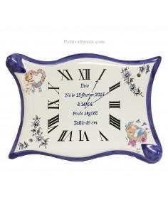 Horloge - Parchemin souvenir de naissance Garçon décor Fleuri