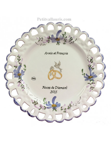 Assiette de Mariage modèle Tournesol décor fleurs bleues inscription personnalisée bleue
