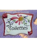 """Plaque de porte parchemin rose """"Toilettes"""""""