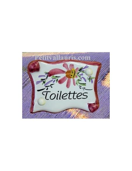 Plaque de porte en faience émaillée blanche modèle parchemin décor artisanal fleurs roses inscription Toilettes
