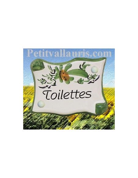 Plaque de porte en faience émaillée blanche modèle parchemin décor artisanal fleurs vertes inscription Toilettes