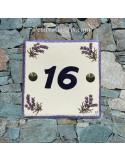 Numéro de Maison pose horizontale décor brins de lavandes chiffre bleu