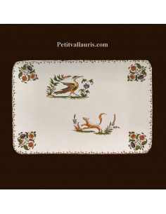 Petit plat rectangle décor inspiration Tradition Vieux Moustiers polychrome