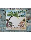 Plaque texte et décor personnalisé pour votre maison décor cocotier et chaises longues texte vert