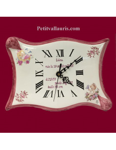 Parchemin souvenir de naissance Fille Véritable Horloge décor rose