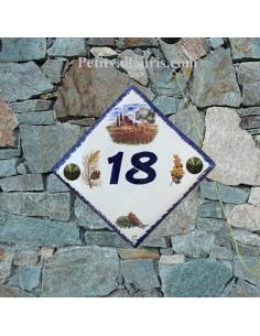 Numéro de Maison pose diagonalele décor cabanon et olivier chiffre bleu
