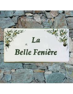 Plaque pour maison en céramique décor Fleurs Vertes