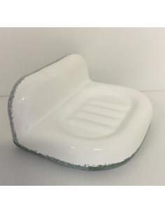 Porte savon en faience blanche modèle mural + bord gris