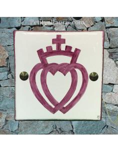 Plaque texte et décor personnalisé pour votre maison décor croix vendéenne en rose