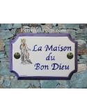 """Plaque de Maison rectangle décor et texte personnalisés """"Bon Dieu""""inscription et bord bleu"""