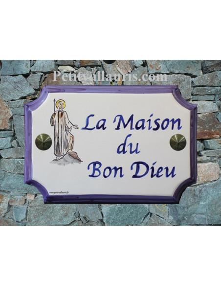 """Plaque en céramique aux angles incurvés motif artisanal """"Bon Dieu"""" + inscription personnalisée"""