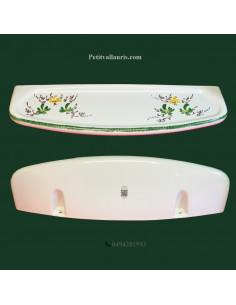 Tablette de salle de bain en porcelaine décor fleurs vertes et jaunes orangées