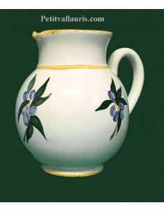 Pichet à eau 1Litre décor Olives bleues