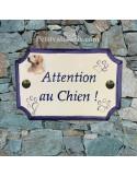 """Plaque de maison de style en céramique Labrador """"Attention au chien"""""""