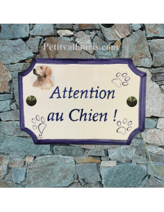 "Plaque de maison de style en céramique Labrador ""Attention au chien"""