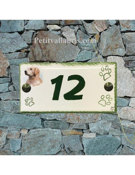 Plaque rectangulaire de maison en céramique émaillée motif chien Labrador + inscription personnalisée verte