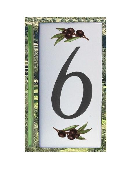 Numero de rue chiffre 6 décor brins d'olives