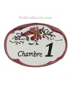 Plaque de porte Ovale en céramique fleuri avec inscription + chiffre