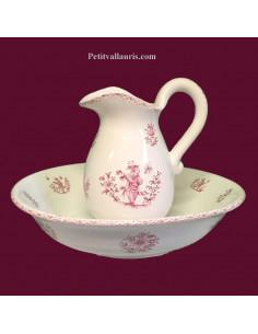 Ensemble de toilette, cuvette + pichet décor Tradition Vieux Moustiers rose