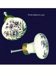 Gros bouton de placard rond en porcelaine blanche motif bouquet de fleurs camaieux de bleu (diamètre 50 mm)