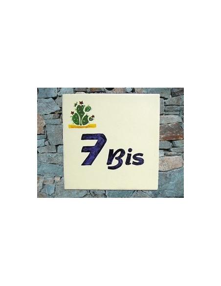 Plaque numéro de Maison en faience motif artisanal cactus figues de barbarie + chiffre personnalisé bleu
