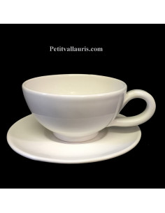 Tasse et sous tasse à thé émaillée unies blanches