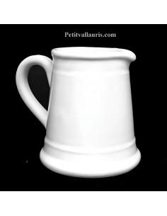 Pot à lait droit émaillé blanc uni