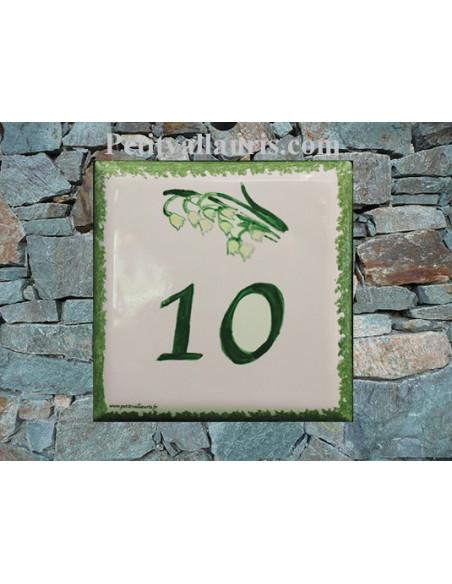 Numéro de maison en faience émaillée décor brin de muguets pose horizontale
