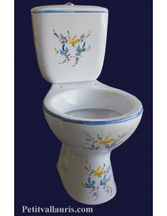 Toilettes-WC décor fleurs bleues et jaunes-orangées