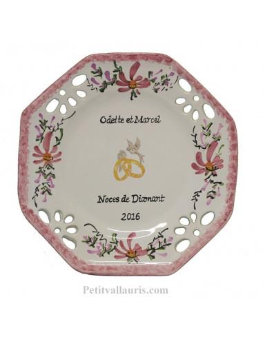 Assiette anniversaire de Mariage octogonale petit modèle décor fleurs roses