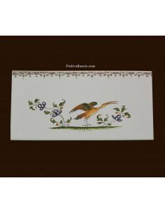 carrelage 10 x 20 en faience décor oiseau 2217 tradition vieux moustiers polychrome avec frise