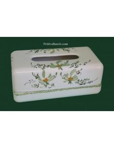Boîte à mouchoirs papier décor Fleuri verte