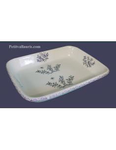 Plat de cuisson et gratin spécial four taille 1 décor fleurs inspiration décor tradition moustiers bleu