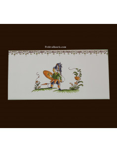 carrelage 10 x 20 en faience décor guerrier référence 2209 tradition vieux moustiers polychrome avec frise