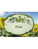 """Plaque de porte Ovale fleur verte """"Cave"""""""